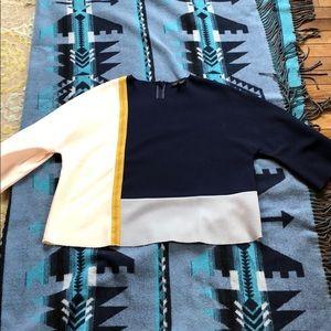 Topshop patchwork silk blouse, zip back